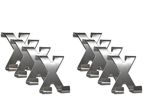 all-around24® 8 x Türhaken X-Form Edelstahl Handtuchhaken - Garderobenhaken - Haken - Handtuchhalter - Kleiderhaken - Schrankhaken