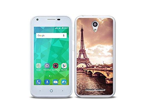 etuo Handyhülle für ZTE Blade L110 - Hülle Foto Hülle - Seine & Eiffelturm - Handyhülle Schutzhülle Etui Hülle Cover Tasche für Handy
