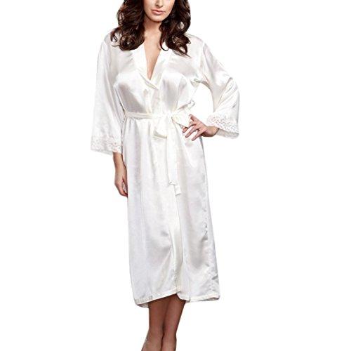 Femme Sexy Longue Robe Chemise de Nuit en Soie Kimono Peignoir Robe Nuisette Dentelle Lingerie Bain Vêtements de Nuit (Blanc)