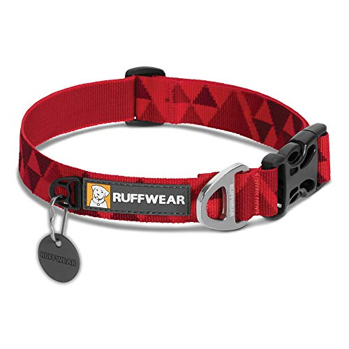 RUFFWEAR, Flat Out Dog Collar (Formerly Hoopie), Webbing Collar for Walking and Everyday Use, Red Butte, Large
