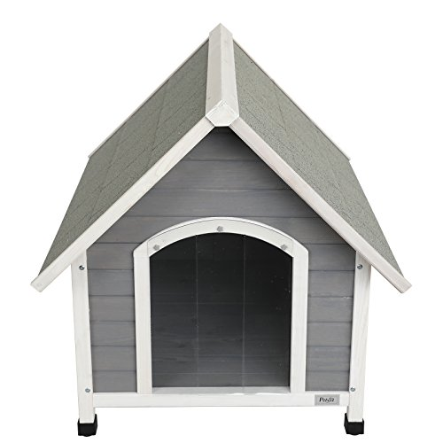 """Petsfit 39.8"""" L x 33.1"""" W x 34.1"""" H Wooden Dog House, Outdoor Pet House, Painted with Water-Based Paint"""