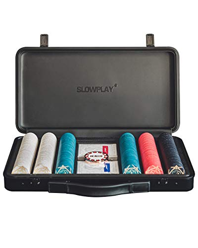 SLOWPLAY Aces Set de Poker   Maletin Poker 300 fichas de Texas Holdem Poker, Cerámicas y 10 Gramos   Profesional pokerset con botón de repartidor y Cartas de plastico
