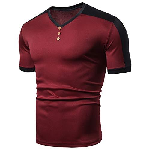 waotier Camiseta De Manga Corta para Hombre Camiseta Moda De Color SóLido con Cuello Redondo Ropa De Hombre De Moderno De Verano