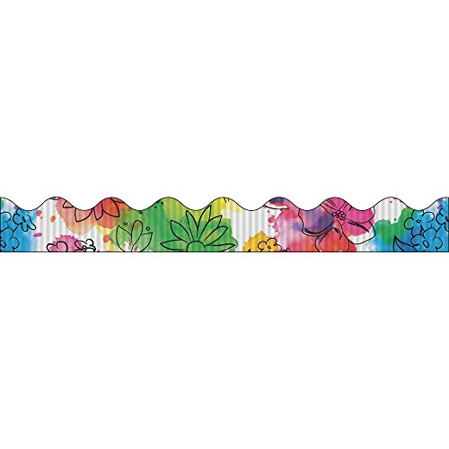 PACON Scalloped Flowers Decorative Border, 2-1/4 Inches x 25 Feet, Watercolor Flow