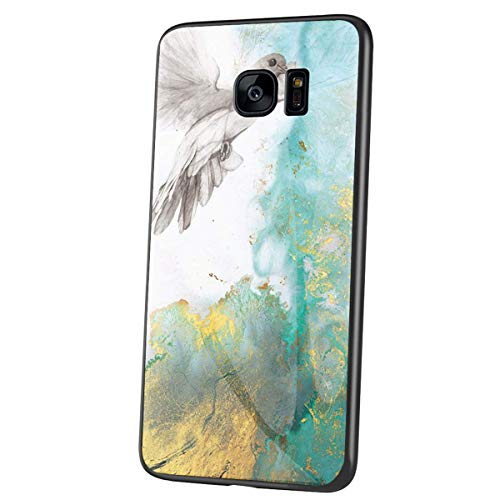 QPOLLY Compatible avec Samsung Galaxy S7 Coque, Brillante Marbre Motif Arrière en Verre Trempé Design Ultra Mince Souple TPU Silicone Bumper Antichoc Anti-Rayures Housse Etui de Protection,Vert