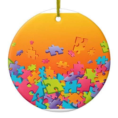 Cukudy Decoupeerzaag Kerst Ornament Keramische Cirkel 3 inch