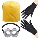 Occhiali da vista rotondi Haichen, cappello di colore giallo Minion, guanti costume nero - rifornimenti del partito di costume del vestito operato per il comico di Halloween (Set cappello da berretto)