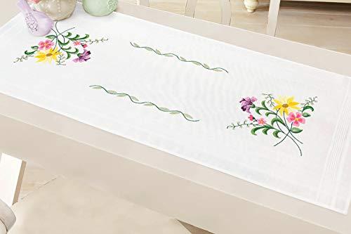 Kamaca Stickpackung Blumen - Feuerwerk Stielstich Plattstich vorgezeichnet aus 100% Baumwolle Stickset mit Stickvorlage (Tischläufer 40x100 cm)