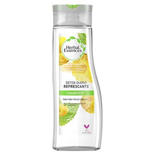 Herbal Essences Detox Diario Refrescante Champú para todo tipo de Cabello con Frambuesa Dorada y Menta, Inspirado en la Naturaleza, 400ml