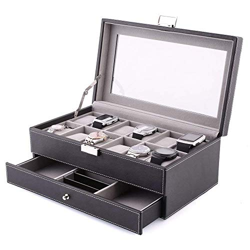 amzdeal Watch Jewelry Box 2 Laye...