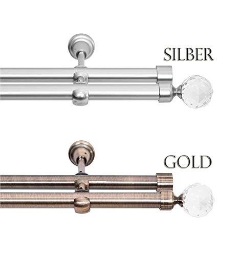 Rollmayer Chrom Matt Vorhangstange/Gardinenstange aus Metall Ø 19mm (240cm Carmen, im Silber, 2-läufig) einfache Montage Verschiedene Größen und Endstücken Ohne Ringe!