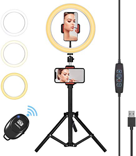 "Orieta 10"" Selfie Ring Light with Tripod Stand & Phone Holder for Live Stream/Makeup, Dimmable Beauty LED Light with 3 Color Modes and 10 Brightness Level Compatible for iPhone/Android"