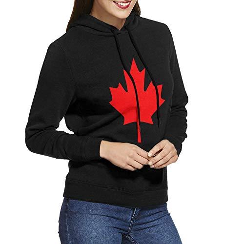 shenguang Mujeres Canadian Maple Leaf, Canada Pride Sudaderas con Capucha Suéter Algodón de Manga Larga Sudaderas sin Bolsillo