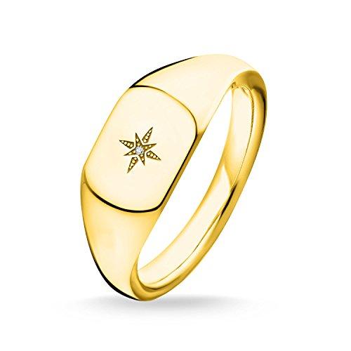 Thomas Sabo Ring Vintage Stern Gold, Größe 48, Sterlingsilber, D_TR0038-924-14