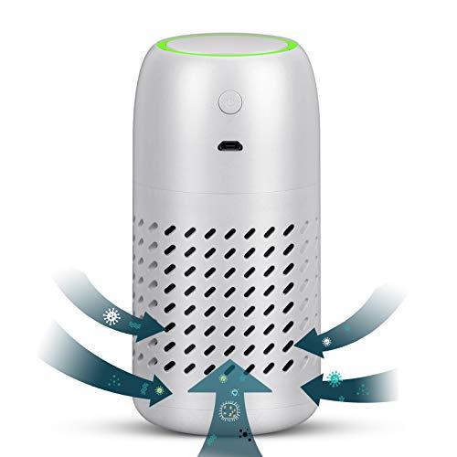 Vou tiger Tragbarer Luftreiniger, Auto-Luftreiniger mit Aktivkohlefilter, beseitigt Allergien, Rauch, Pollen, Geruch von Haustieren, Weiß