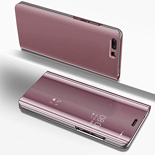 Herbests Hülle Kompatibel mit Huawei P Smart Spiegel Ledertasche BookStyle Ultra Dünn Überzug Mirror Case Transluzente Fensteransicht Galvanisieren Handyhülle Lederhülle,Rose Gold