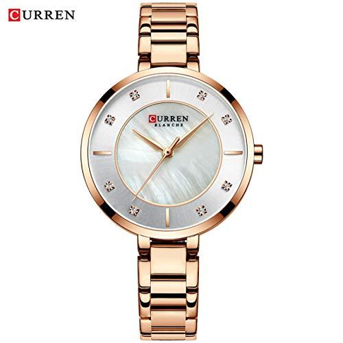 JPDP Reloj de señoras Moda Casual Reloj de señoras Diamante Cuarzo señoras Pulsera Reloj de señoras Rosegold