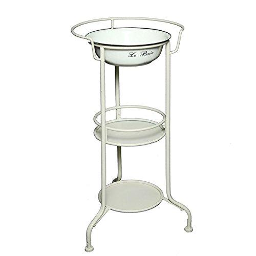 Schöne Waschschüssel Waschschale mit Ständer Küchenschale Dekoschale Emaille weiß