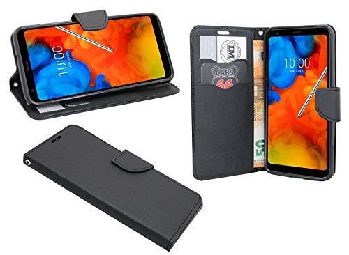 cofi1453 Elegante Buch-Tasche Hülle kompatibel mit LG Q Stylus in Schwarz Leder Optik Wallet Book-Style Cover Schale