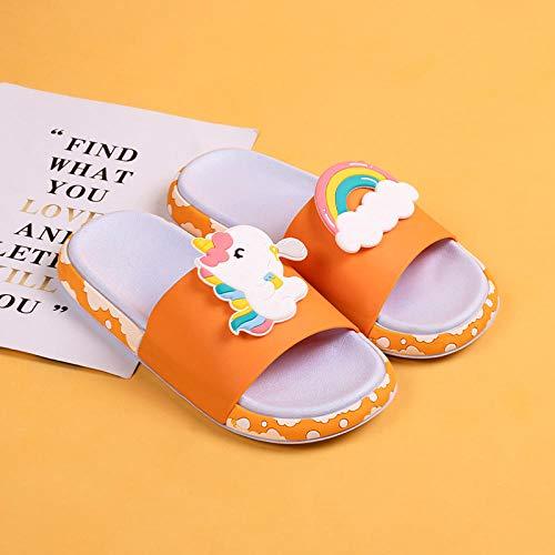 XZDNYDHGX Zapatillas Sandalias Inferiores Suaves,Diapositivas de Verano Zapatillas de Mujer Fondo Grueso de Dibujos Animados, Toboganes de Playa Sandalias de baño Pareja Niñas Niños-Rosa EU 35-36