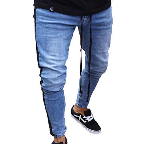 Herr mäns små E skinny jeans herr bekväma storlekar liknande trasiga hål blå sida en rand svarta randiga byxor med fickor plus en kläder