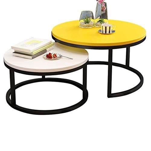 WSHFHDLC Mesas de café Mesas de centro redondas Mesas auxiliares modernas Mesas de anidación para balcón y sala de estar extensible Juego de 2 pequeñas mesas de café