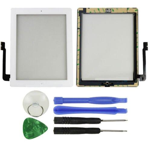 Hedywei Schermo Touch Glass Digitizer di ricambio per iPad 3 con Tasto HOME Bianco
