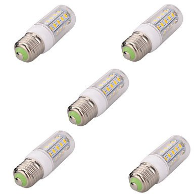 WELSUN 7W E26/E27 Ampoules Maïs LED T 36 SMD 5730 580LM LM Blanc Chaud/Blanc Froid Décorative AC 100-240 V 5 pièces (Light Source Color : Blanc Chaud)