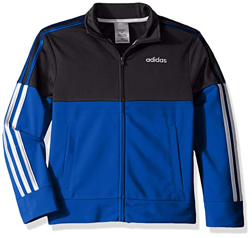 adidas Boys' Big Colorblock Tricot Jacket, Black/Blue, L(14/16)