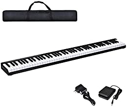 Costzon 88-Key Portable Electronic Piano, with a Handbag, 88-Key Full Size Digital Piano, Bluetooth and Voice Function, Portable Electronic Keyboard, with Sustain Pedal and Power Supply (Black)