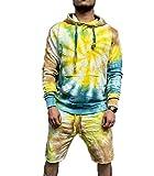 Chándal para Hombre Joggers Tie-Dye Hoodie Sudadera Jog Shorts Conjunto de Pantalones de algodón