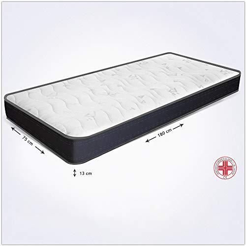 Miasuite i sogni italiani - Colchón individual a medida - Modelo Summit - Medida 75 x 180 x 13 cm de alto - Colchón ortopédico fabricado en espuma Waterfoam - Para cama plegable