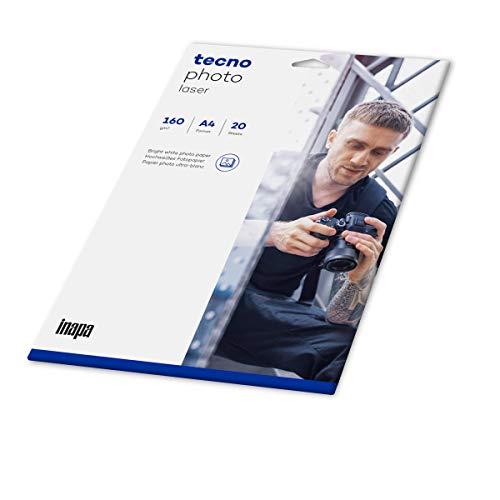 inapa Fotopapier tecno Photo Laser: A4, 160 g/m², 20 Blatt, hochweiß, für Laserdrucker