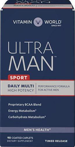 Vitamin World Ultra Man Sport Daily Multivitamin | Feat. Selenium, Vitamins B, C, E, & Magnesium | Health & Wellness Multi-Supplement for Overall Wellness for Active Men, 90 Caplets
