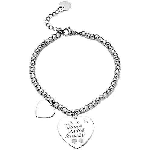 Beloved Bracciale da donna, braccialetto in acciaio emozionale - frasi, pensieri, parole con charms - ciondolo pendente - misura regolabile - incisione - argento (MOD 20)