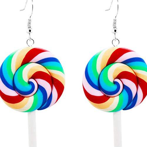 Vektenxi Dauerhafte Bunte Rainbow Lollipop Candy baumeln Ohrringe für Frau Charm Ohrringe, rot blau
