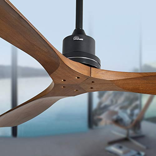 Sofucor 52'' Outdoor Farmhouse Ceiling Fan with Remote Carved Wood Fan Blade Noiseless Reversible Motor