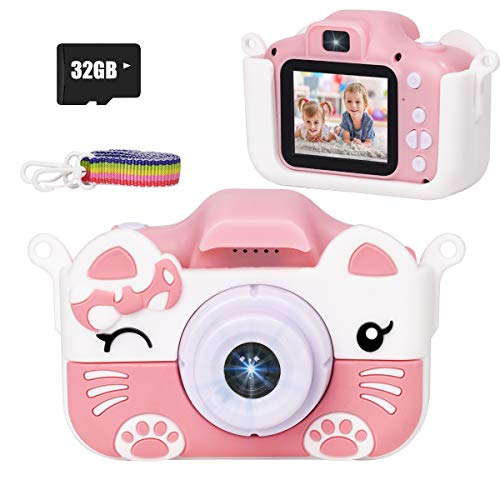 JLtech Kids Selfie Digital Camera,Birthday Toy Gift for Girls Age 2-10 , Children Cameras for Toddler with 1080P Video,Portable and Rechargeable Toy Camera for Girls with 32GB SD Card (Pink)