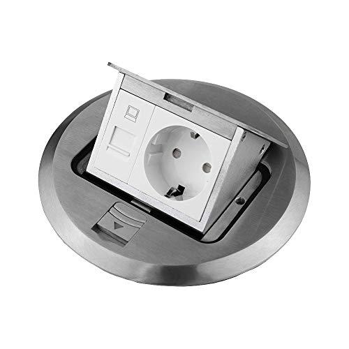 Einbausteckdose Fußbodensteckdose Steckdose Edelstahl für Boden & Wand versenkbar überfahrbar (Steckdose Netzwerkanschluss rund)