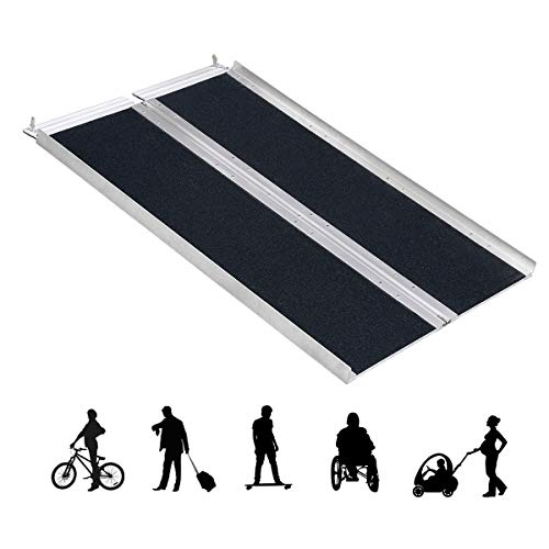 Portable Folding Aluminum Wheelchair Ramp Scooter, Wheelchair & Mobility Scooter Ramps (4 FT)