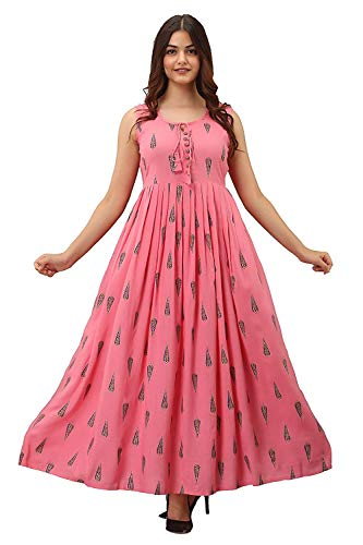 Women Pink Kurti Long Dress Printed Gown Anarkali Kurti Sleevless...