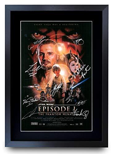 HWC Trading A3 FR Star Wars Episode I The Phantom Menace The Cast Liam Neeson Ewan McGregor Gifts gedrucktes Poster mit Autogramm für Film-Fans, gerahmt