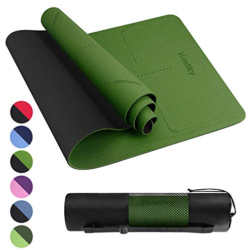 Homtiky Yoga Mat Exercise Fitness Mat, Non-Slip TPE Yoga Mat with Alignment Lines, 1/4 inch Eco Friendly Workout Mat with Carrying Strap for Yoga Green