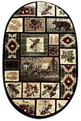 Cabin Style Oval Area Rug Rustic Western Country Bear Elk Deer Bear Wildlife Lodge Native Design 386 (3 Feet X 4 Feet 7 Inch)
