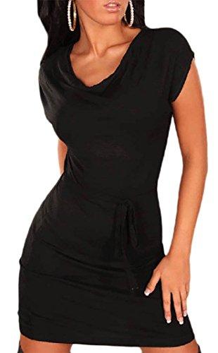 Mikos*Sommer Damen Kleid Ärmellos Stretch-Minikleid mit Wasserfallausschnitt Gr. S M 36 38 (310) (M, Schwarz)