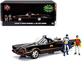 New DIECAST Toys CAR JADA 1:18 Metals - Hollywood Rides - Classic TV Series Batmobile with Working Lights, Batman and Robin DIE CAST Figures 98625
