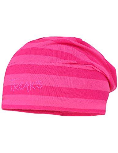 maximo Mädchen Beanie, Ringeljersey, gestreift Mütze, Mehrfarbig (pink/Dunkelpink 405), 55