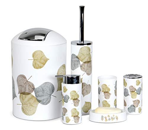 Icegrey - Juego de Accesorios de baño de diseño Moderno de 6 Piezas, Botellas de loción, Soporte para Cepillo de Dientes, Taza para Dientes, jabonera, Cepillo de baño, Bote de Basura - Hoja
