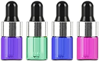 Furnido 2ml(5/8 Dram) Multiple-Colour Glass Dropper Bottle For Essential Oils,Empty Aromatherapy Perfume Glass Container L...