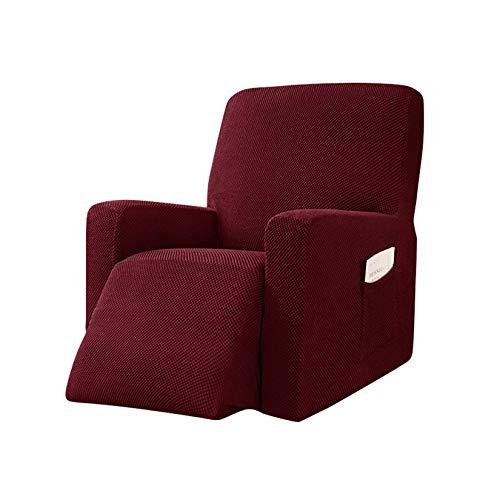 GCP Funda para Silla reclinable Fundas reclinables Antideslizantes elásticas, Funda para sofá con Bolsillo Lateral Inferior elástico, Funda Protectora para Muebles Sofá reclinable Rojo Vino